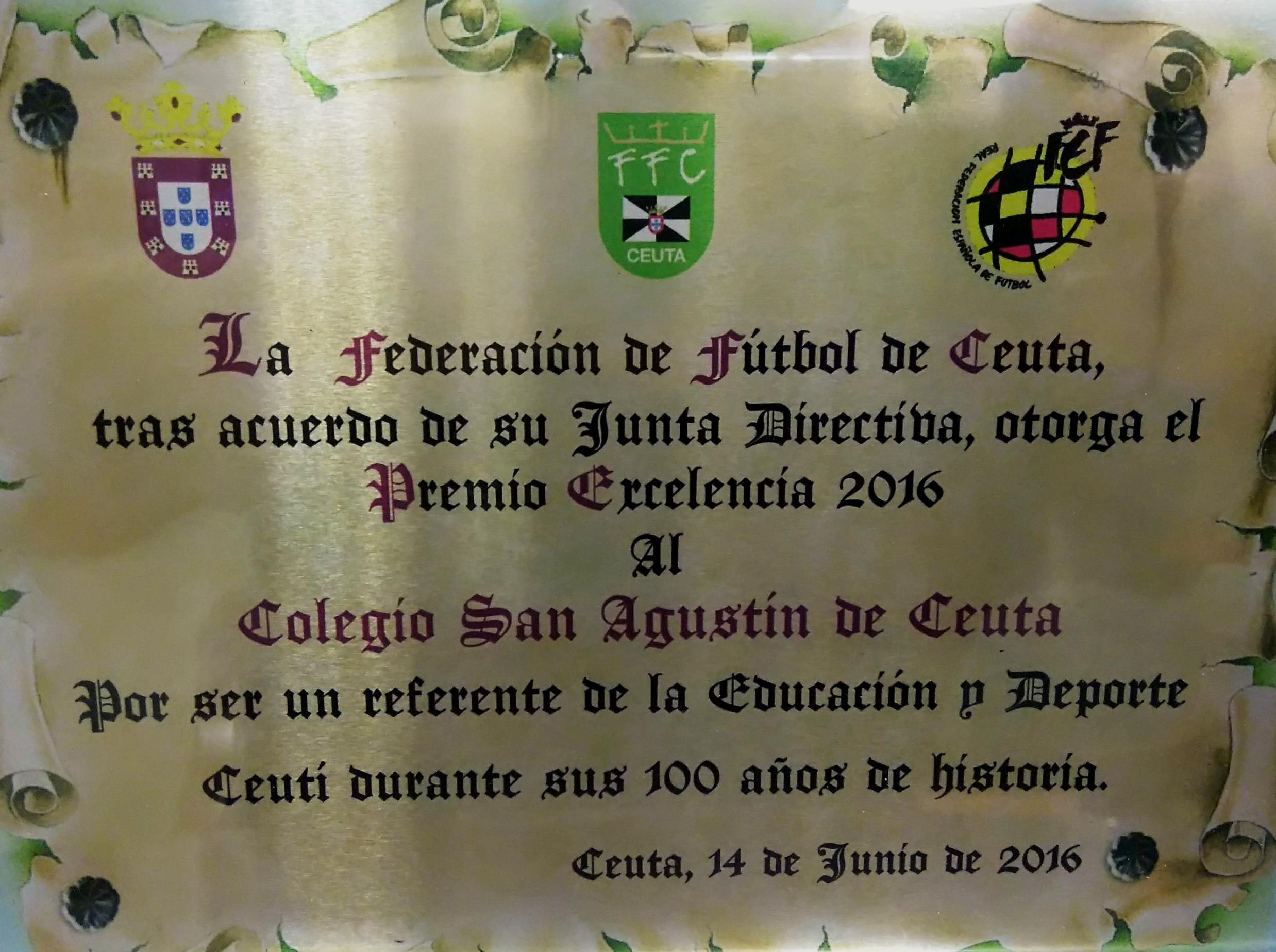 Premio Excelencia al Colegio San Agustín por el deporte
