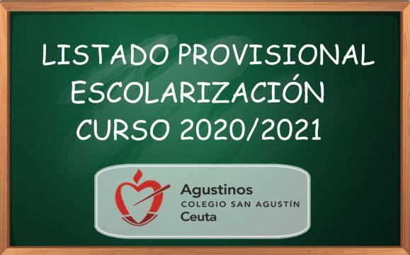 Listado de Escolarización Provisional Curso 2020/2021.