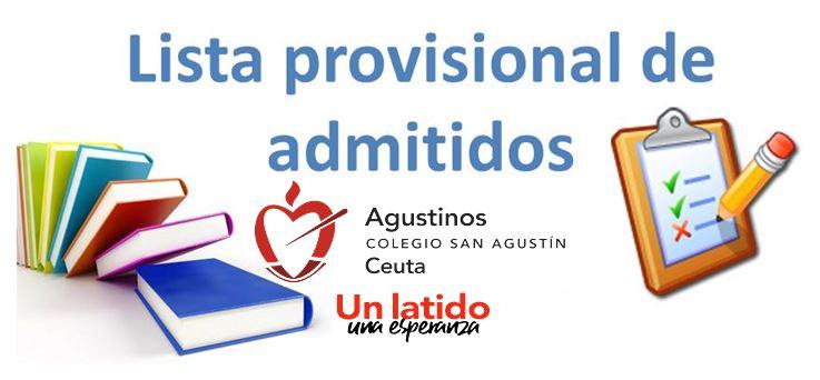 Lista Provisional de Admitidos en la Escolarización 2021-2022