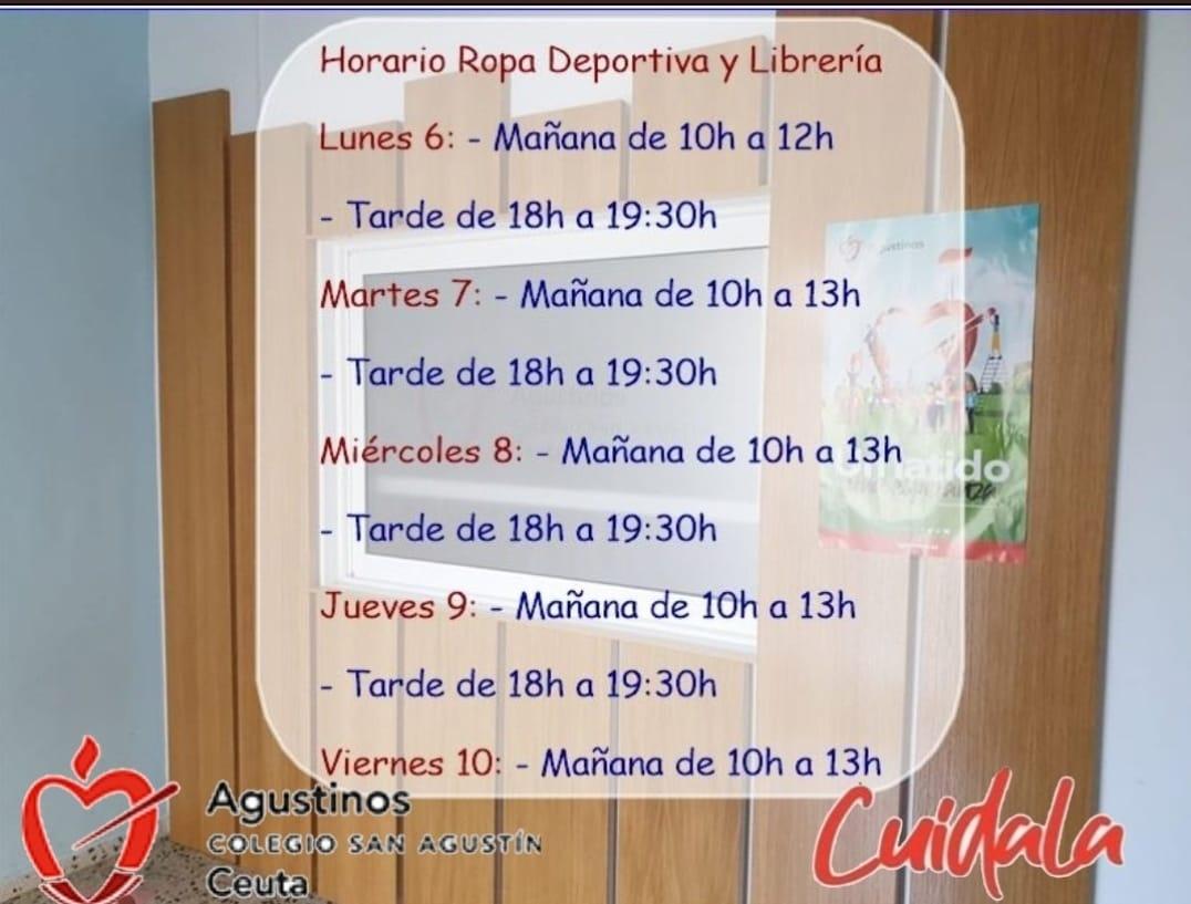 Horario de Venta de Ropa y de Librería.